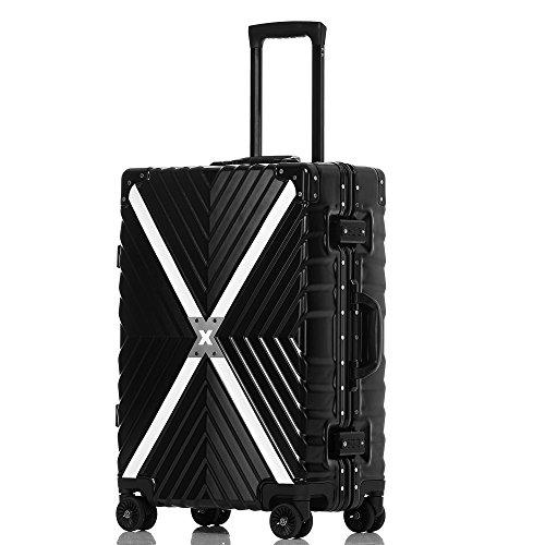 クロース(Kroeus) スーツケース 4輪ダブルキャスター 静音 アルミフレーム 大容量 軽量 人気 キャリーケース 旅行 出張 TSAロック搭載 多段階調節キャリーバー コーナープロテクト 2XL ブラック
