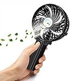 VersionTech usb扇風機 折り畳み式 携帯ファン 手持ち/卓上置き両用 usb充電/電池給電 角度調整と傘の中に装着可能 強風 6枚羽根 風量3段階調節 可愛いミニ扇風機(ブラック)