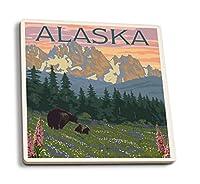 アラスカ–Bear AndカブスSpring Flowers 4 Coaster Set LANT-43383-CT