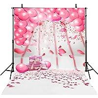 6x 8ft Kids backdrop写真誕生日小道具ピンクバルーン写真Backdropsベビー誕生日写真背景パーティーコンピュータ印刷写真背景