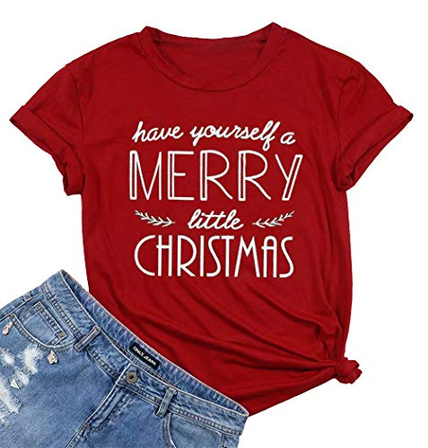 Have Yourself a Merry Little Christmas T Shirt Tees Women Short Sleeve O Neck Tees Tops - Red - X-Large