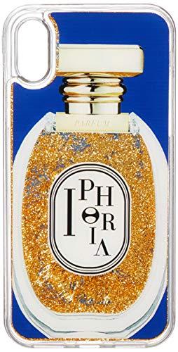 [アイフォリア] iPhone X対応 Perfume Round Blue and Golden Glitter for X 15208