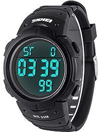 Vemupohal デジタル腕時計 メンズ 超軽い 見やすい大文字 カウントダウン ストップウォッチ LED 50M防水 子供用腕時計 水泳 スポーツ時計 学生腕時計 大文字盤 日本電池 ファッション