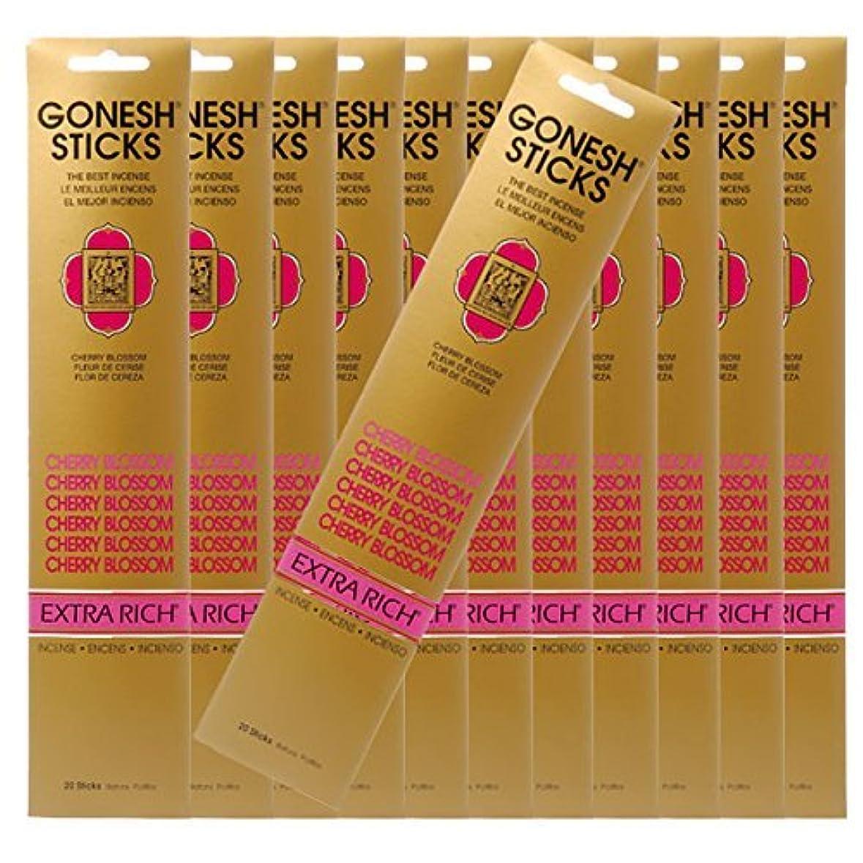オープナースリット世界的にGONESH ガーネッシュ お香スティック Cherry Blossom -チェリーブロッサム- x12パックセット(合計240本入り)
