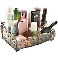 WTL かご?バスケット 化粧品収納ボックスドレッシングテーブルデスクトップ化粧品収納ボックスbathroom Shelf (色 : グレー)