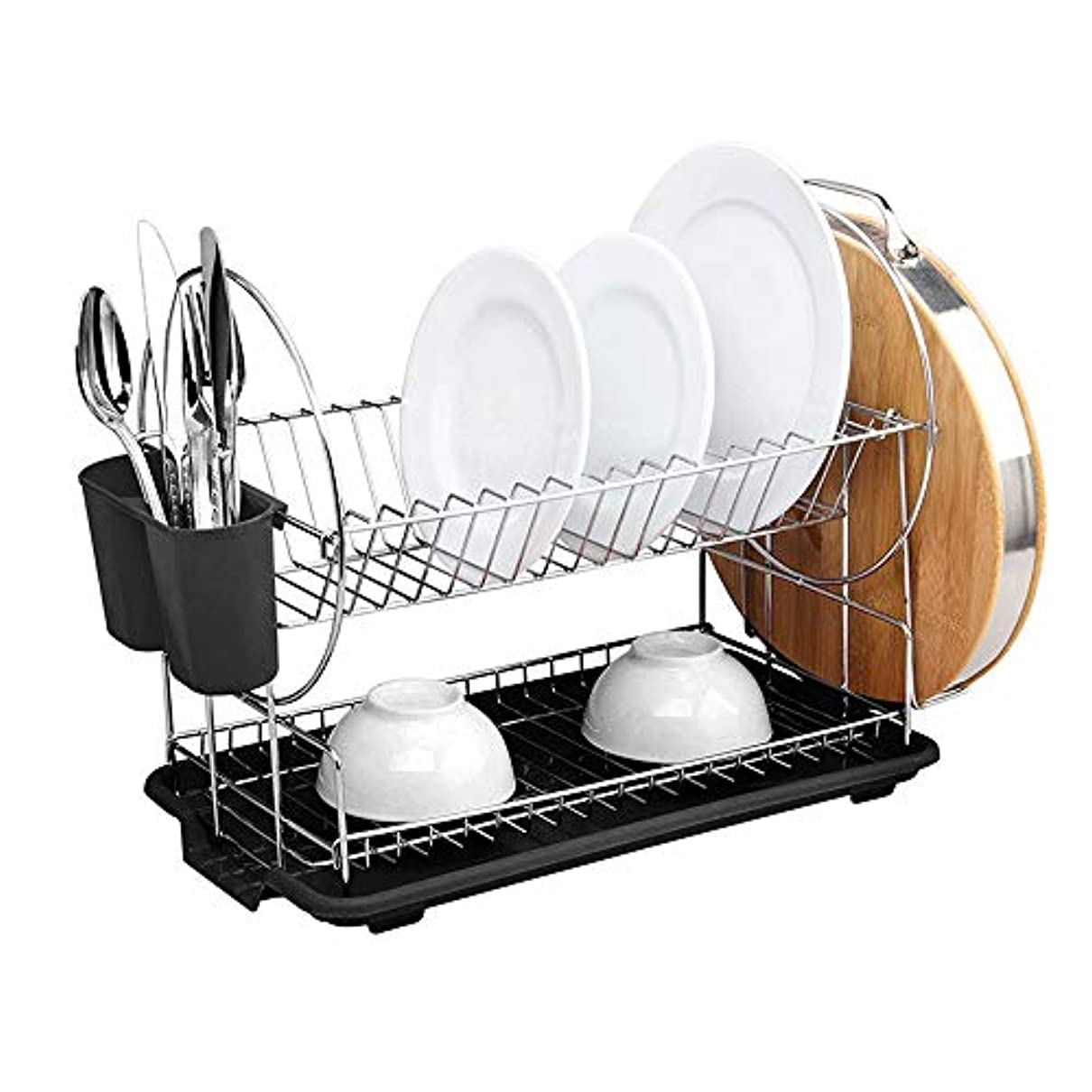 反対に地球水切り板/カトラリーカップの大容量の流し皿の乾燥の棚が付いているデラックスなステンレス鋼2層の皿の棚