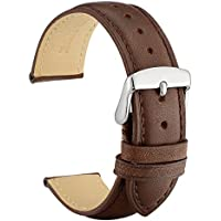 WOCCI 22mm Vintage Leather Watch Band with 20mm Pins Buckle, Watch Strap (Dark Brown/Tone on Tone Seam)