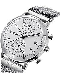 a89debd6a0 PHCOOVERS 多針アナログ腕時計メンズ 薄型 ミラネーゼベルト クロノグラフ 24時間 ...