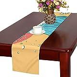 LKCDNG テーブルランナー 赤い 和風の太陽 クロス 食卓カバー 麻綿製 欧米 おしゃれ 16 Inch X 72 Inch (40cm X 182cm) キッチン ダイニング ホーム デコレーション モダン リビング 洗える
