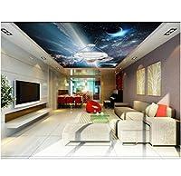 Wuyyii 3D部屋の壁紙カスタム壁画不織布壁ステッカー宇宙飛行士は壁のための星の天井壁画写真の壁紙への旅行3D