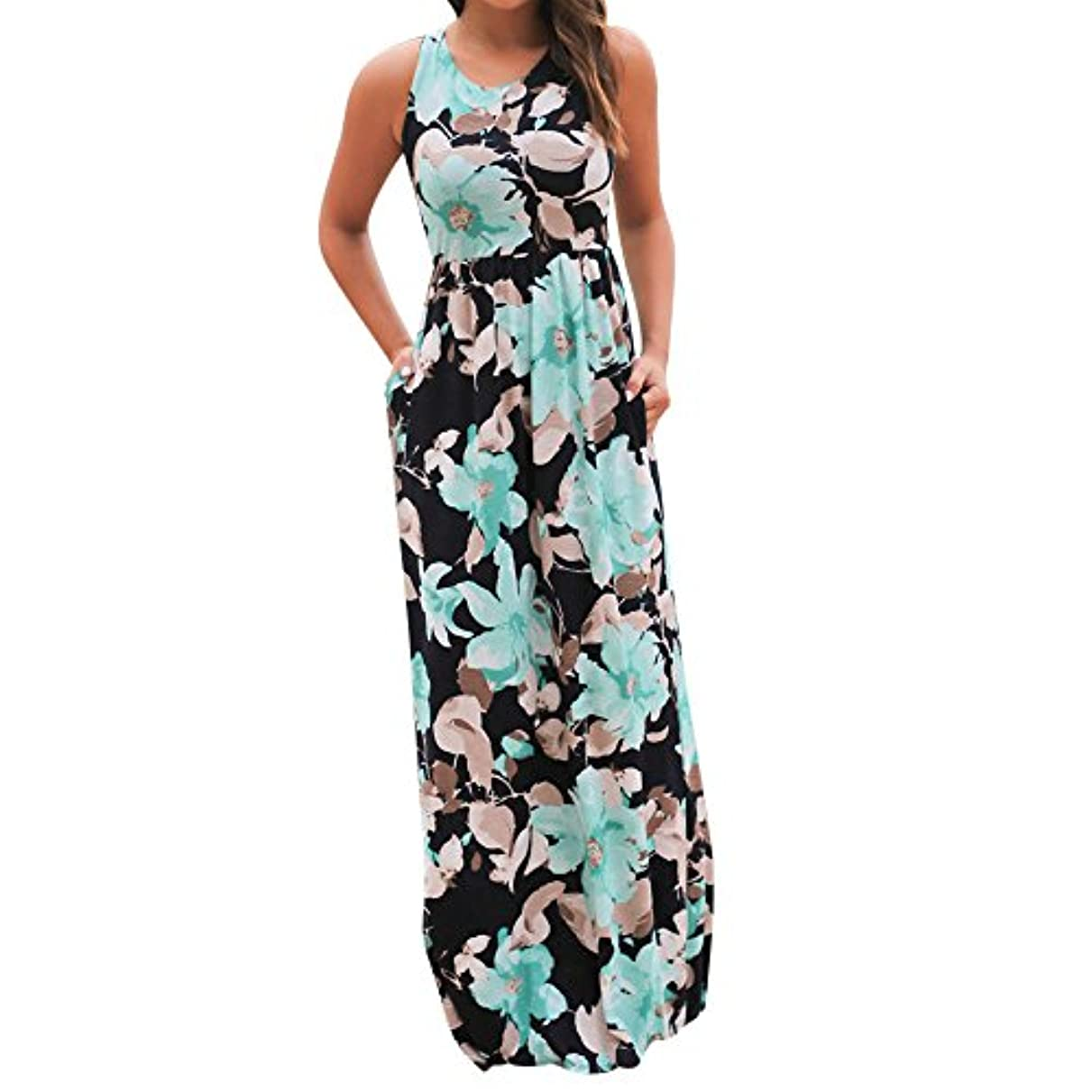 数学特に薄汚いSakuraBest Women Sleeveless Floral Print Maxi Long Dress with Pockets (M, Blue)