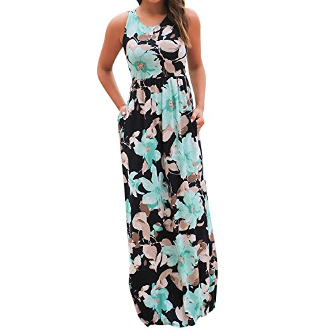 中毒バイアス雄弁家SakuraBest Women Sleeveless Floral Print Maxi Long Dress with Pockets (L, Blue)