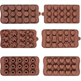Talented Kitchen 6 Pack Non-Stick Silicone Candy Molds - Silicone Molds for Jelly Chocolate Candy Cake DIY - Chocolate Molds Silicone Molds Hard Candy Mold Fat Bomb Molds