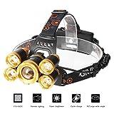 8000ルーメン超強力ヘッドライト LED ヘッドライト 5x CREE XM-L XML T6 4モード 超強力 防水 軽量 アウトドアー 登山 夜釣り 工事作業 自転車 ハイキング キャンプ