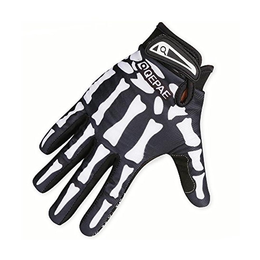 簡潔なプレゼンター宗教YUANSHOP1 スカル フルフィンガー 手袋 アウトドア スポーツ サイクルグローブ サイクリンググローブ 防風 防寒 通気 耐摩耗 滑り止め