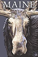 メイン州–Moose Up Close 24 x 36 Signed Art Print LANT-19534-710