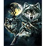 5D Diamond Painting Kits, DIY Embroidery Painting Wall Sticker for Wall Decor Full Drill Wolves (12 x 16inch)