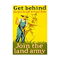 War WWI Allies Land Army Girl Soldier Bayonet Hoe Farm Wall Art Print 戦争軍女の子兵士ファーム壁