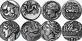 愛の馬ですか。(アテナ、ペガサス)(アレトゥサ、Quadrigger)(Tanit、ペガサス)(ペルセポネ、チャリオット) 馬 (#4 H ・ S) と 4 ギリシャ コイン