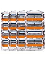 ジレット フュージョン用 替刃 互換品 4セット 16個 髭剃り Gillette Fusion プログライド パワー 替え刃 オレンジ