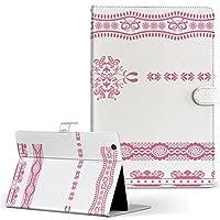igcase Qua tab 01 au kyocera 京セラ キュア タブ タブレット 手帳型 タブレットケース タブレットカバー カバー レザー ケース 手帳タイプ フリップ ダイアリー 二つ折り 直接貼り付けタイプ 009133 ピンク レース 模様