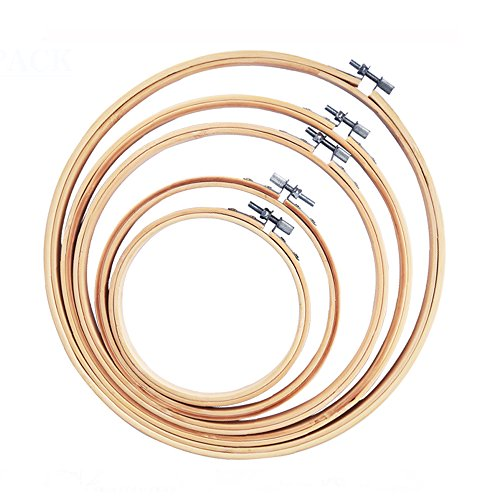 AUSHEN 刺繍枠 天然竹製 5サイズ クロスステッチ用 キルティング用枠 円形 直径13/15/20/23/26cm (枠5本)