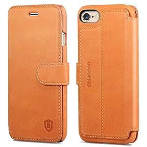 iPhone6 手帳型ケース / iPhone 6s ケース 手帳型 SHIELDON アイフォン6s / 6 本革レザーカバー カード入れ 横置きスタンド マグネット留め具付き スリム 薄型 レトロブラウン