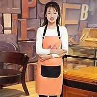 クッキングキッチンエプロンホームワークタバード エプロンプロフェッショナル品質綿キッチンコーヒーショップ防汚油防止印刷作業服クックビストロ肉屋 (色 : Orange)