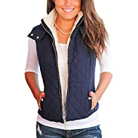 Idgreatim Womens Quilted Lightweight Full-Zip Removable Hooded Vest Outerwear with Side Pockets