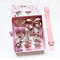 Niome 18Pcs Baby Hairband Hair Ring Hair Clips Ribbon Set Girl Cute Plush Animals Bows Barrettes Hair Accessory Gift Box
