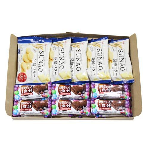 グリコ SUNAO〈発酵バター〉(5コ)& バランスオンminiケーキ チョコブラウニー(14コ)セット