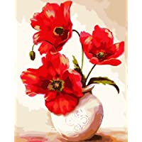 DIY PBN-paint by number Red Flowers 16X20 inches Frameless. by ES Art [並行輸入品]