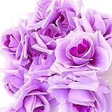 SeleCreate バラ ローズ 造花 フェイク フラワー 花 部分 のみ 50個 セット 紫色