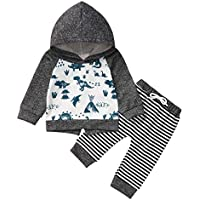 Happy Town Newborn Infant Unisex Baby Winter Hoodies Set Dinosaur Sweatshirt Striped Pants Set Fall Clothes Outfits