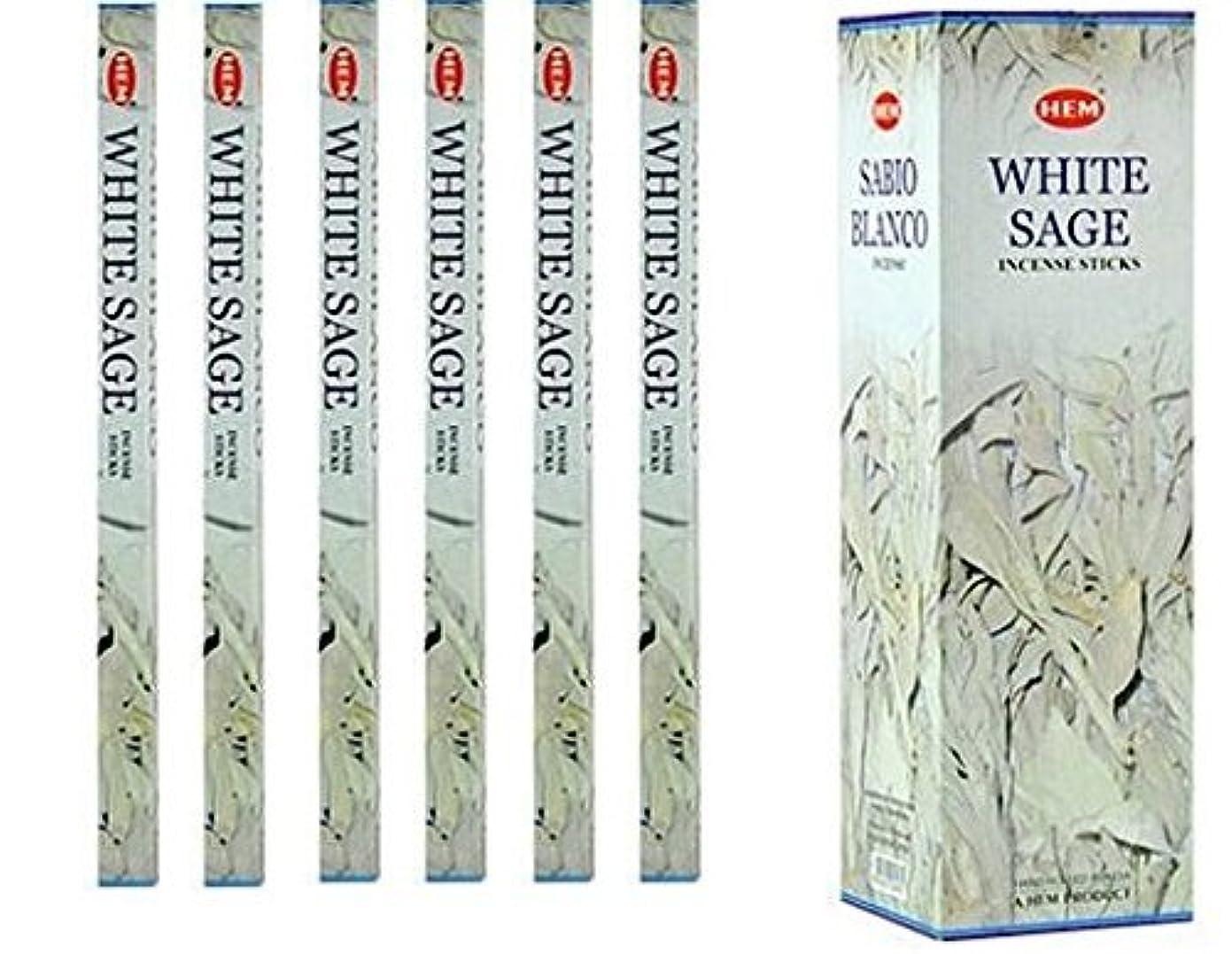 歯科の衛星判決インドHemホワイトセージ香6パックX 8スティック、Wicca Pagan 8 Gm正方形ボックス