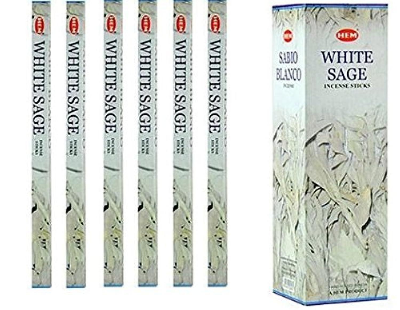 インドHemホワイトセージ香6パックX 8スティック、Wicca Pagan 8 Gm正方形ボックス