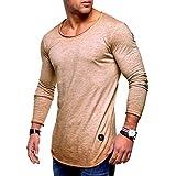 [Limore(リモア)] 薄手 ラウンド ネック ロンT カジュアル Tシャツ 長袖 カットソー スリム フィット メンズ