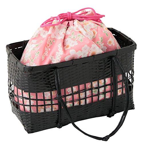 カゴバック 巾着 夏バッグ 浴衣 かごバッグ 巾着 和柄 巾着袋 選べる全18種類・M:桜×桃紅色