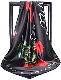 90X90CMプリントシルクスカーフ女性のための大きなスクエアスカーフショールスカーフローズスカーフ
