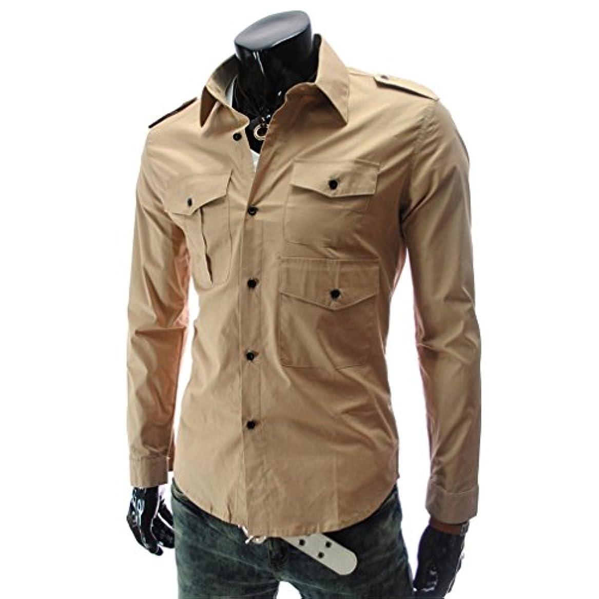 パット植木制限されたHonghu メンズ シャツ 長袖 マルチポケット バッジ スリム カジュアル カーキ 2XL 1PC