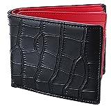 [レガーレ] メンズ 本革 二つ折り財布 カードたくさん入る 10色 (オリジナル化粧箱入り) クロコブラック×レッド