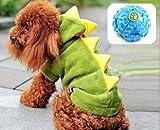 【ELEEJE】 愛犬 わんちゃん も 一緒 に 大 盛り上がり 恐竜 に 変身 だっ! ハロウィン クリスマス コスプレ !! ドッグ ウェア ( 小型犬 、 中型犬 、 大型犬用 Aタイプ 、 ボール の セット )恐竜(緑色) Mサイズ