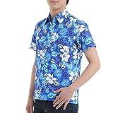 【第1弾】 OKI(オキ) アロハシャツ フリーサイズ ユニセックス カラフル ダンス 衣装 イベント メンズ レディース (S, アロハネイビー)