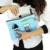 FakeFace バッグインバッグ 多機能 大容量 収納バッグ インナーバッグ ipad収納ケース 化粧品収納ポーチ メイクバッグ ブルー