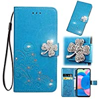 Abtory Wallet Case for Galaxy A30S, 3D Bling Leaf Emboosed マグネット開閉 PUレザーケース 財布型 カード収納 おしゃれ デザイン 軽量 ケース for Samsung Galaxy A30S Blue