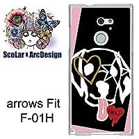 スカラー scr50106 スマホケース スマホカバー F-01H 富士通 FUJITSU arrows Fit アローズ いぬ ハート かわいい ファッションブランド