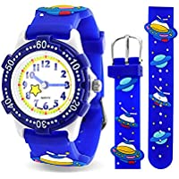Astronaut Flying Saucer Space Ship Waterproof Wrist Watch Time Teacher Quartz Cartoon Blue Silicone Wristband Round Dial