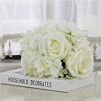 DC 造花 ホワイトリリー コスモス バラ チューリップ 室内インテリア 飾り 結婚式 お祝い 誕生日 パーティー 人工植物 百合の花 5本セット/1本 (白色バラ)