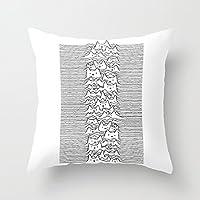 Furr Division White 枕カバー 綿100% 家庭装飾 正方形 インテリア 45×45cm
