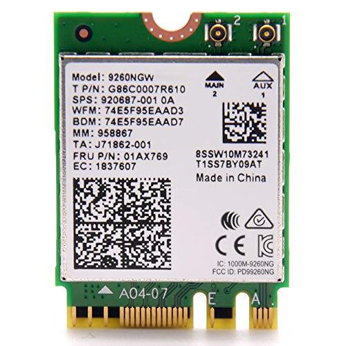 intel 9260NGW M.2(2230 A/E) 802.11ac wave2 (1,733MHz 2x2 HT160) Bluetooth5.0 日本語説明書付 バルク品